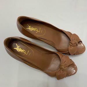 Yves Saint Laurent Peep toe bow heels 38 8